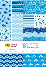Blok z motywami BLUE, 80g/m2, A4, 15 ark, 30 motyw, Happy Color