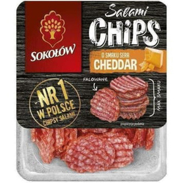 SOKOŁÓW Salami Chips Chipsy salami o smaku sera cheddar 60g
