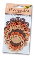 Filcowa koronka okrągła, 6 szt., miks brązowy, Folia