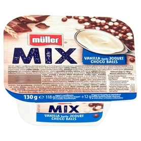 MÜLLER Mix Jogurt o smaku waniliowym z kulkami zbożowymi w czekoladzie mlecznej i białej 130g