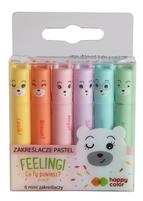 Zakreślacze mini, Feelingi, 6 kol. pastelowych, Happy Color