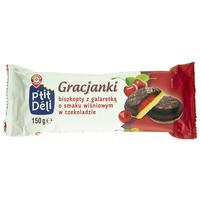 Wiodąca Marka Gracjanki biszkopty z galaretką o smaku wiśniowym w czekoladzie 150g