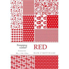 Blok z motywami RED, 80g/m2, A4, 15 ark, 30 motyw, Happy Color