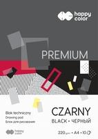 Blok techniczny Premium 220 g/m2, A4, 10 ark., czarny, Happy Color