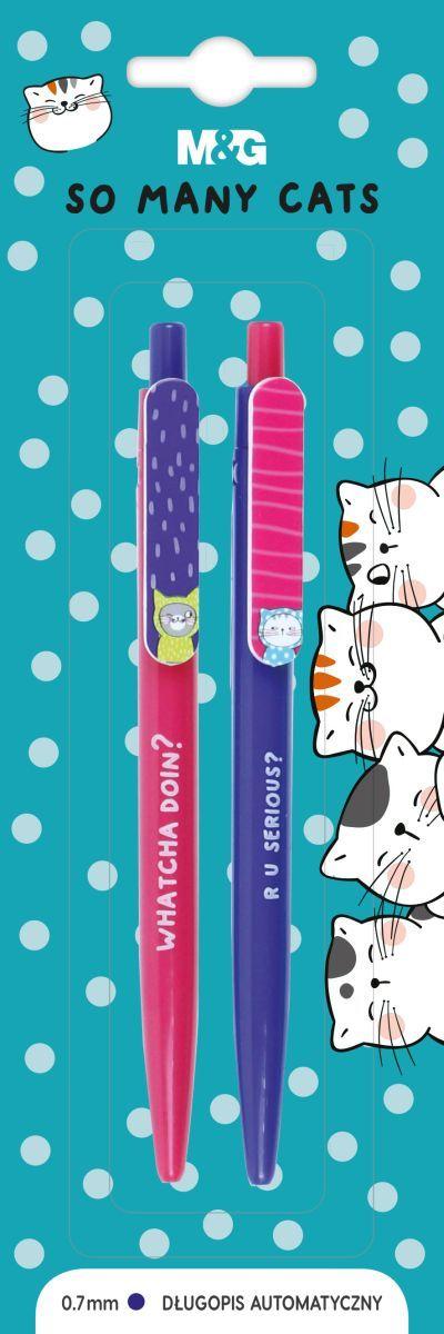 Długopis automatyczny So Many Cats, 0,7mm, niebieski, 2szt, blister, MG (1)