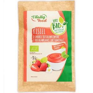 VITALLY FOOD Kisiel o smaku truskawkowym z truskawkami i witaminą C BIO 38g (1)