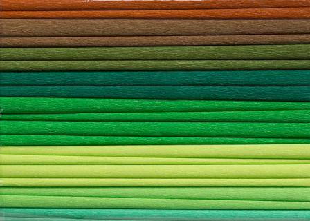 Bibuła marszczona, 25x200 cm, 10 rolek, miks 8 kolorów zielonych, Happy Color (1)