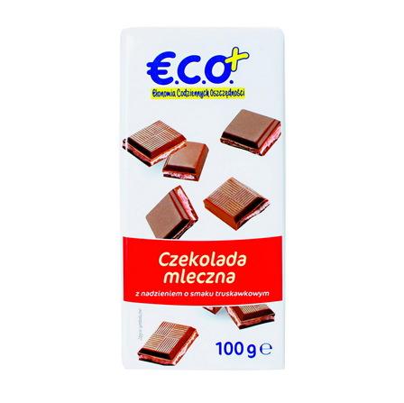€.C.O.+ czekolada mleczna z nadzieniem o smaku  truskawkowym 100g (1)