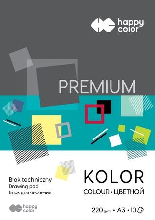 Blok techniczny Premium 220 g/m2, A3, 10 kolorów, Happy Color (1)