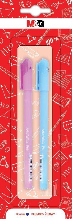 Długopis żelowy Adorable Pets, 0.5mm, niebieski, różne motywy, 2szt blister,  MG (1)