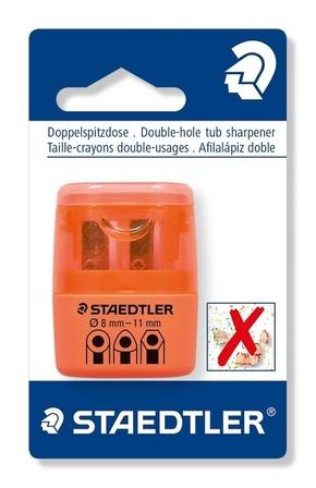 Temperówka podwójna, plastikowa, z pojemnikiem, pomarańczowy neonowy, blister, Staedtler (1)