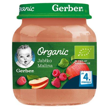 Gerber Organic Jabłko malina po 4 miesiącu 125g (1)