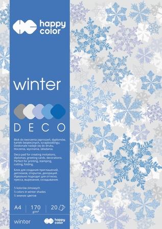 Blok Deco Winter 170 g/m2, A4, 20 ark., 5 kolorów, Happy Color (1)