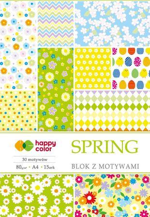 Blok z motywami SPRING, 80g/m2, A4, 15 ark, 30 motyw, Happy Color (1)