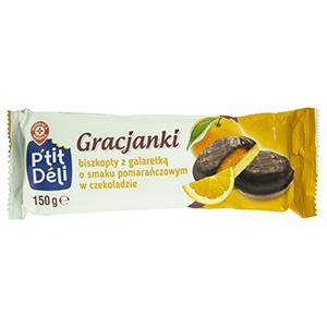 Wiodąca Marka Gracjanki biszkopty z galaretką o smaku pomarańczowym w czekoladzie 150g (2)