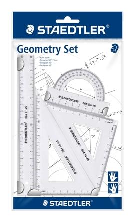 Zestaw przyborów do matematyki, linijka, kątomierz, 2x ekierka, Staedtler (1)