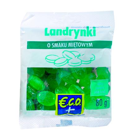 E.C.O.+ Landrynki o smaku miętowym 80g (1)