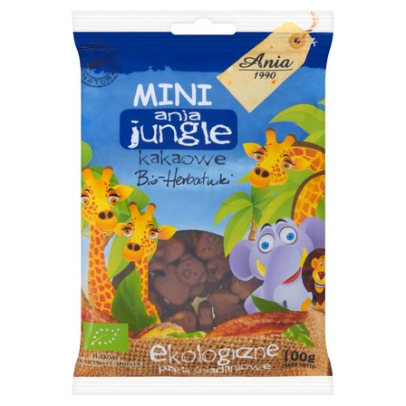 Ania Mini ania jungle kakaowe Bio herbatniki Ekologiczne płatki śniadaniowe 100g (1)