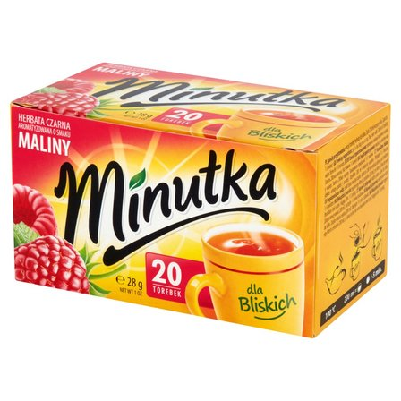 Minutka Herbata czarna aromatyzowana o smaku maliny 28g (20 tb) (1)