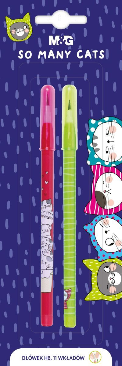 Ołówek So Many Cats, z 11 wymiennymi rysikami, 2szt blister, MG (1)
