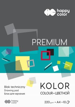 Blok techniczny Premium 220 g/m2, A4, 10 kolorów, Happy Color (1)