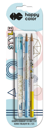 Długopis usuwalny + 2 ołówki, kolekcja Style, blister, Happy Color (1)